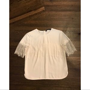 WHITE ZARA TOP WITH LACE TRIMMING - SIZE M